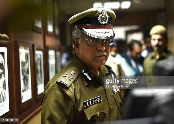 Outgoing Delhi Police Commissioner BS Bassi at PHQ on February 29 2016 in New Delhi India Senior IPS Officer Alok Kumar Verma took charge as the new...