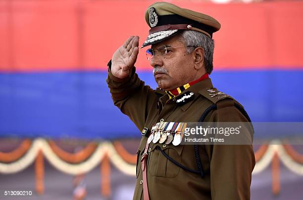 Outgoing Delhi Police Commissioner BS Bassi during his Farewell Parade at Parade Ground New Police Lines Kingsway Camp on February 29 2016 in New...