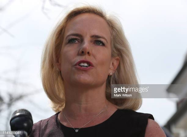 Outgoing Department of Homeland Security Secretary Kirstjen Nielsen speaks to the media outside of her home on April 08 2019 in Alexandria Virginia...