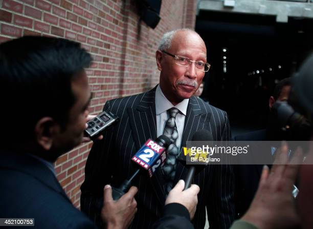 Outgoing Detroit Mayor Dave Bing speaks with the news media after attending a press conference where it was announced that Detroit was named the 11th...