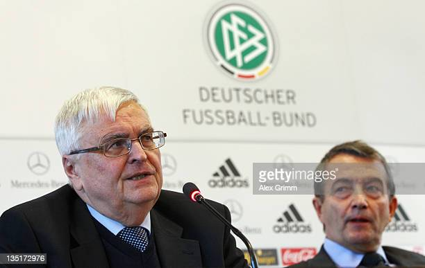 Outgoing DFB President Theo Zwanziger and his designated successor, General Secretary Wolfgang Niersbach, attend a press conference after a DFB...