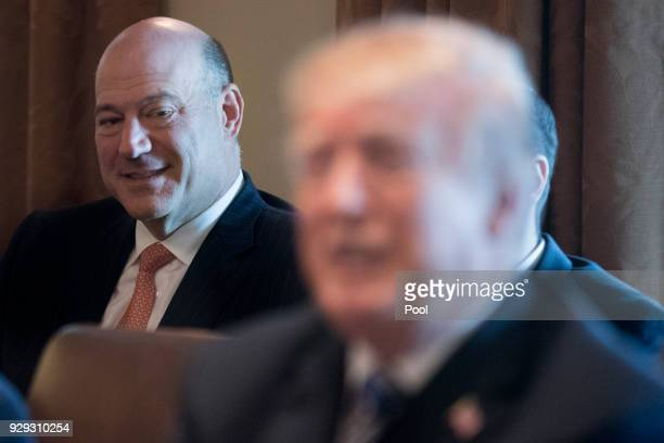 Outgoing Director of the National Economic Council Gary Cohn listens to US President Donald J Trump deliver remarks during a meeting with members of...