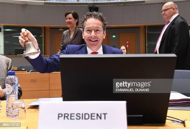 Outgoing Eurogroup President Jeroen Dijsselbloem presides over an Eurogroup meeting on December 4 2017 at the European Council in Brussels Four...