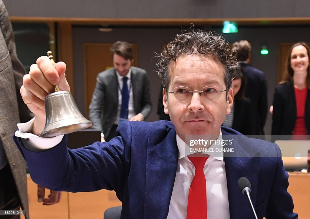 Outgoing Eurogroup President Jeroen Dijsselbloem presides over an Eurogroup meeting on December 4, 2017 at the European Council in Brussels. Four ministers have put forward their candidacy to become president of the Eurogroup and the winner, replacing current president Jeroen Dijsselbloem. /