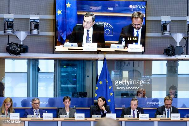Outgoing European Central Bank President Mario Draghi addresses the Economic and Monetary affairs committee of the European Parliament on September...