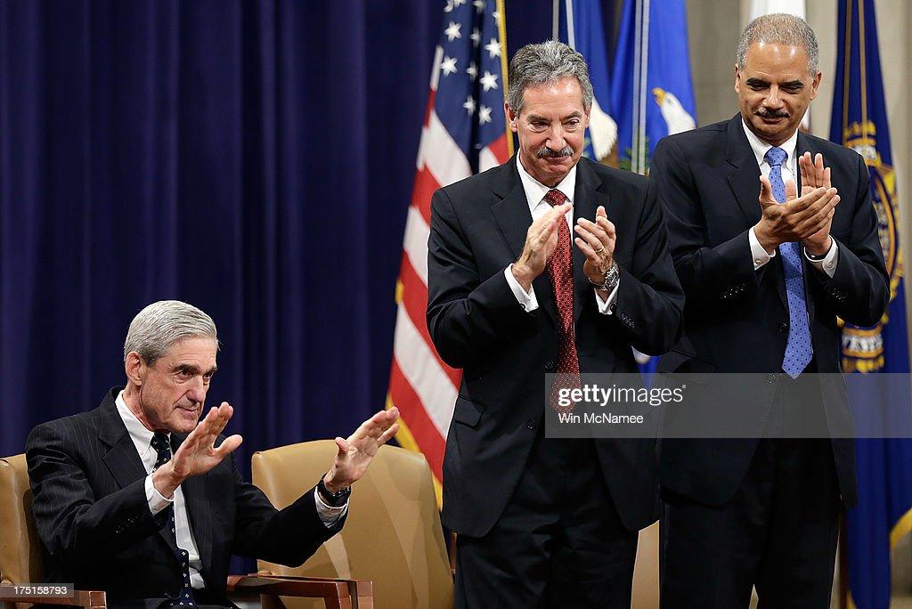 Eric Holder Speaks At Farewell Ceremony For FBI Director Robert Mueller