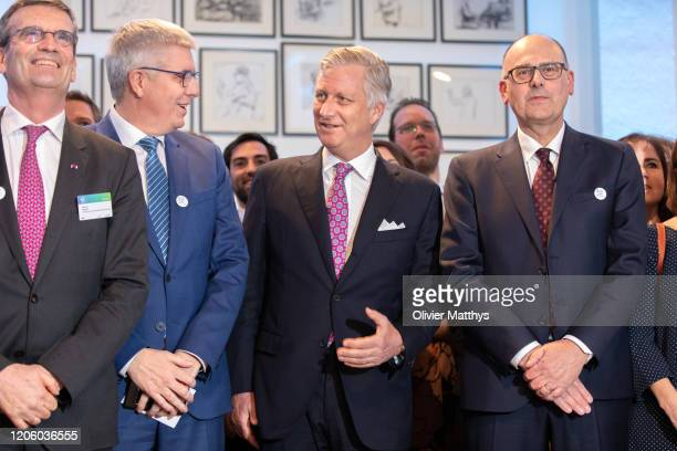 Outgoing FEB Chairman Bernard Gilliot FEB CEO Baron Pieter Timmermans King Philippe of Belgium and new FEB Chairman Bart De Smet attend the 125th...