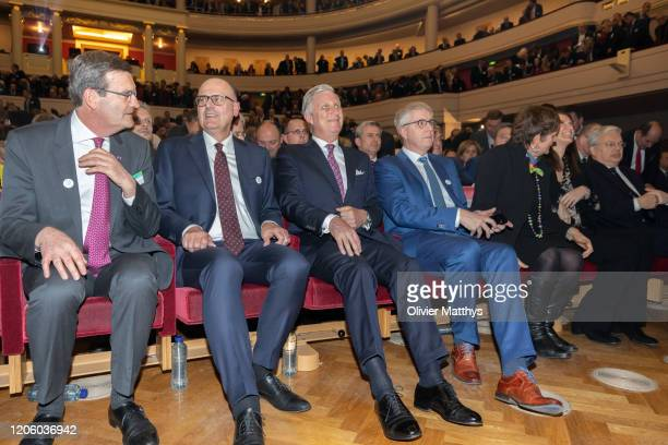 Outgoing FEB Chairman Bernard Gilliot new FEB Chairman Bart De Smet King Philippe of Belgium and FEB CEO Baron Pieter Timmermans attend the 125th...