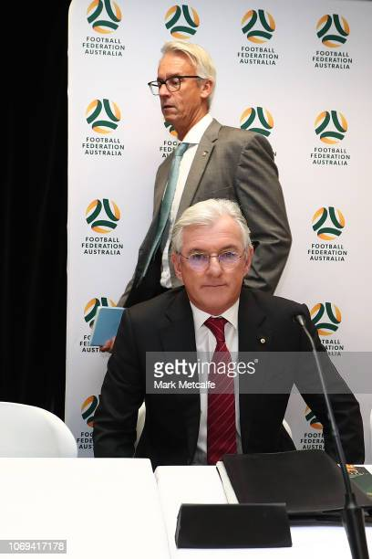 Outgoing FFA chairman Steven Lowy and FFA CEO David Gallop attend the Football Federation Australia Annual General Meeting at FFA Offices on November...