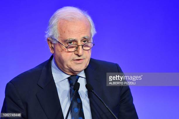 Outgoing FIGC special administrator Roberto Fabbricini addresses the elective assembly of the Italian Football Federation on October 22 2018 at the...