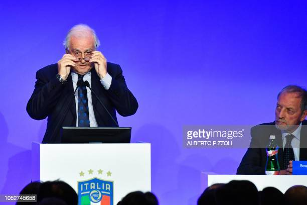 Outgoing FIGC special administrator Roberto Fabbricini addresses the elective assembly of the Italian Football Federation as Chairman of the Italian...