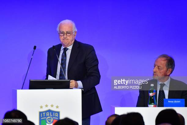Outgoing FIGC special administrator Roberto Fabbricini arrives to address the elective assembly of the Italian Football Federation as Chairman of the...