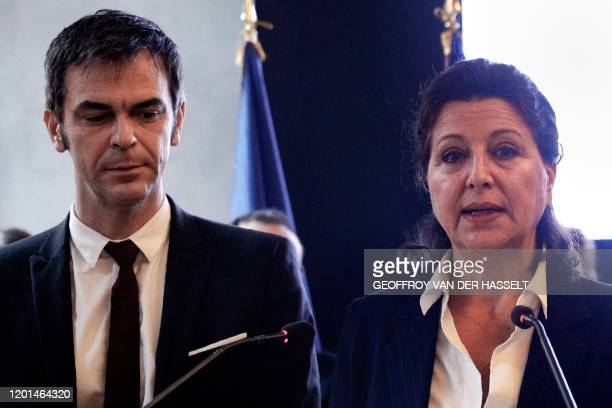 Outgoing French Health and Solidarity Minister henceforth candidate for the 2020 Paris' mayor election Agnes Buzyn attends the transfer of power...