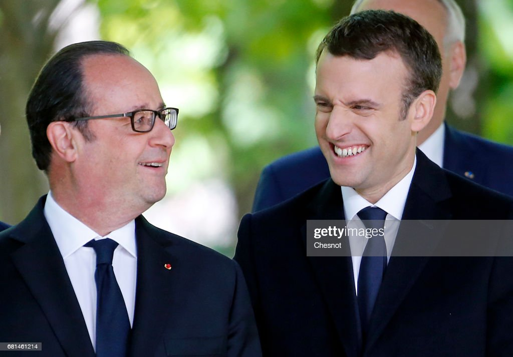 French Presidents Francois Hollande & Emmanuel Macron Attend A Ceremony To Mark The Anniversary Of The Abolition Of Slavery : Nieuwsfoto's
