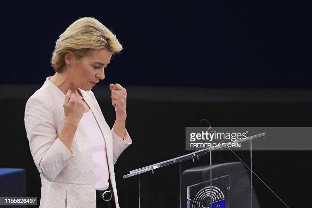 Outgoing German Defence Minister and EU Commission president nominee Ursula von der Leyen delivers a speech during her statement for her candidacy...