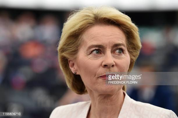 Outgoing German Defence Minister and EU Commission president nominee Ursula von der Leyen arrives to deliver a speech during her statement for her...