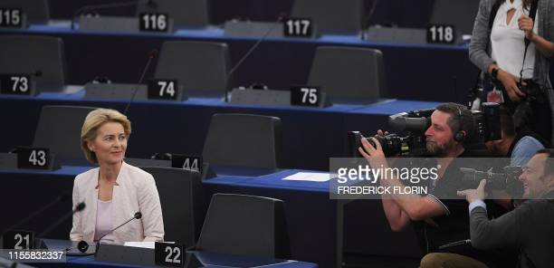 TOPSHOT Outgoing German Defence Minister and EU Commission president nominee Ursula von der Leyen poses after a speech during her statement for her...
