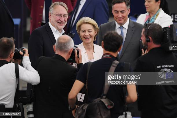 Outgoing German Defence Minister and EU Commission president nominee Ursula von der Leyen smiles after a debate on her candidacy for President of the...