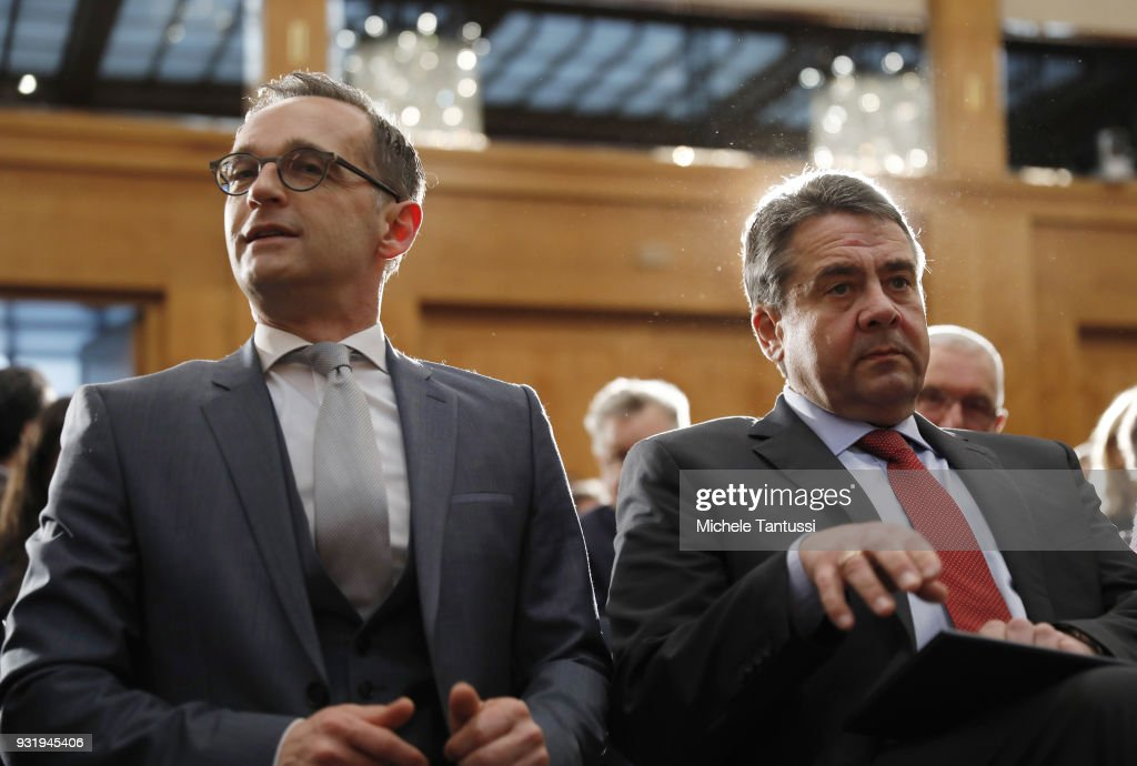 Outgoing German Foreign Minister Sigmar Gabriel and new German Foreign Minister Heiko Maas attend the ceremony marking the transition at the Foreign Ministry on March 14, 2018 in Berlin, Germany. Maas served as Justice Minister in the previous government and is a Social Democrat (SPD). The new German government, a coalition of Christian Democrats (CDU/CSU) and Social Democrats (SPD), was officially sworn in today.