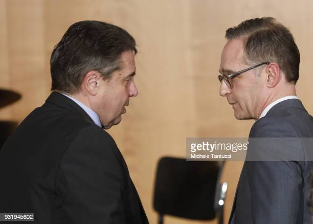 Outgoing German Foreign Minister Sigmar Gabriel and new German Foreign Minister Heiko Maas attend the ceremony marking the transition at the Foreign...