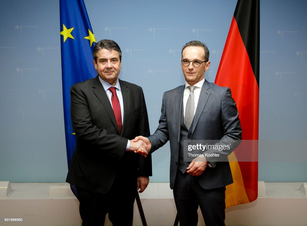 Outgoing German Foreign Minister Sigmar Gabriel, SPD, (L) hands over the Ministry of Foreign Affairs to Heiko Maas, SPD, on March 14, 2018 in Berlin, Germany. Maas served as Justice Minister in the previous government and is a Social Democrat (SPD).