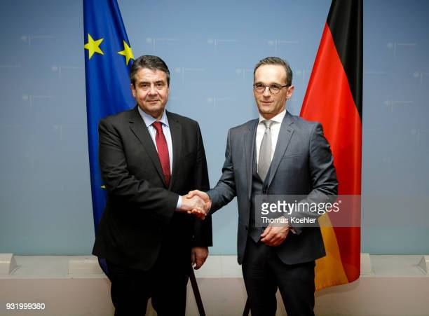 Outgoing German Foreign Minister Sigmar Gabriel SPD hands over the Ministry of Foreign Affairs to Heiko Maas SPD on March 14 2018 in Berlin Germany...