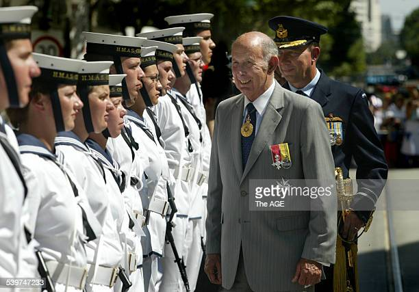 Outgoing Governer John Landy inspecting the troops at today's Australia Day Parade in Swanston Street 26 January 2006 THE AGE NEWS Picture by PENNY...