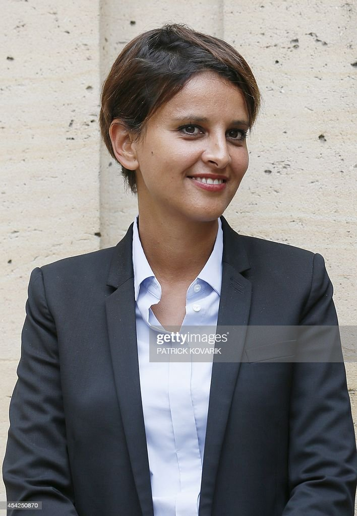 Outgoing Health and Women's Rights minister Najat Vallaud-Belkacem attends a handover ceremony on August 27, 2014 in Paris. Vallaud-Belkacem has been appointed National Education minister.