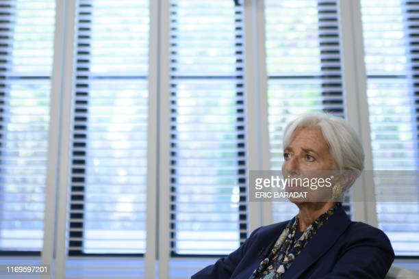 Outgoing IMF Managing Director Christine Lagarde gives an exclusive interview to AFP journalists at the IMF headquarters in Washington on September...