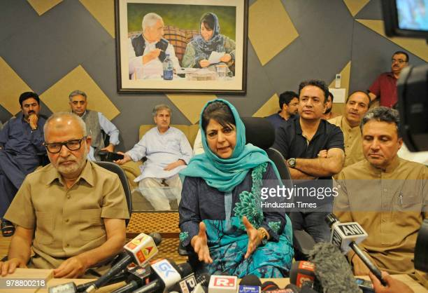 Outgoing Jammu and Kashmir chief minister Mehbooba Mufti addressing a press conference at her residence on June 19 2018 in Srinagar India Jammu and...