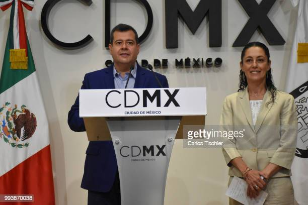 Outgoing Mayor Jose Ramon Amieva next to Newly elected Mayor of Mexico City Claudia Sheinbaum during a press conference at Antiguo Palacio del...
