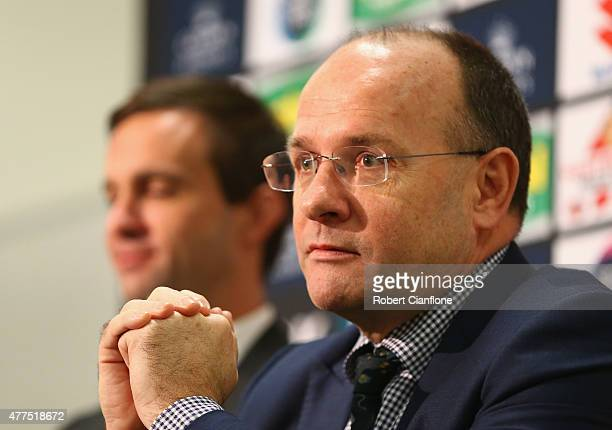 Outgoing Melbourne Storm CEO Mark Evans speaks to the media after announcing Dave Donaghy as the new CEO speaks to the media during a Melbourne Storm...