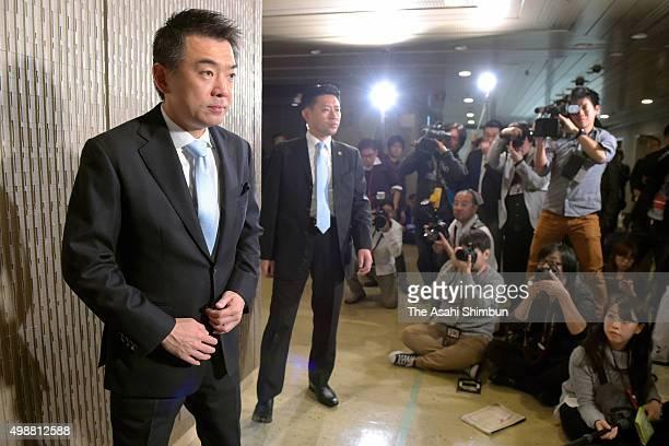 Outgoing Osaka City Mayor Toru Hashimoto speaks to media reporters at Osaka City Hall on November 26 2015 in Osaka Japan