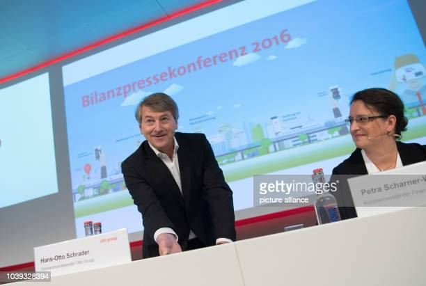 Outgoing Otto Group CEO HansOtto Schrader and CFO Petra ScharnerWolff attend a results press conference of the German mail order and ecommerce...