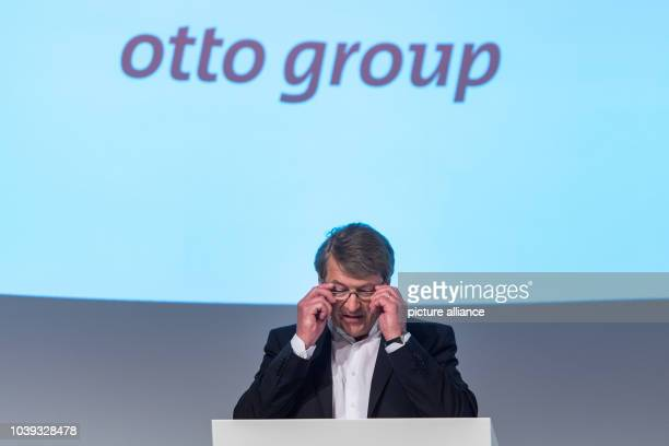 Outgoing Otto Group CEO HansOtto Schrader speaks at a results press conference of the German mail order and ecommerce company in Hamburg Germany 25...