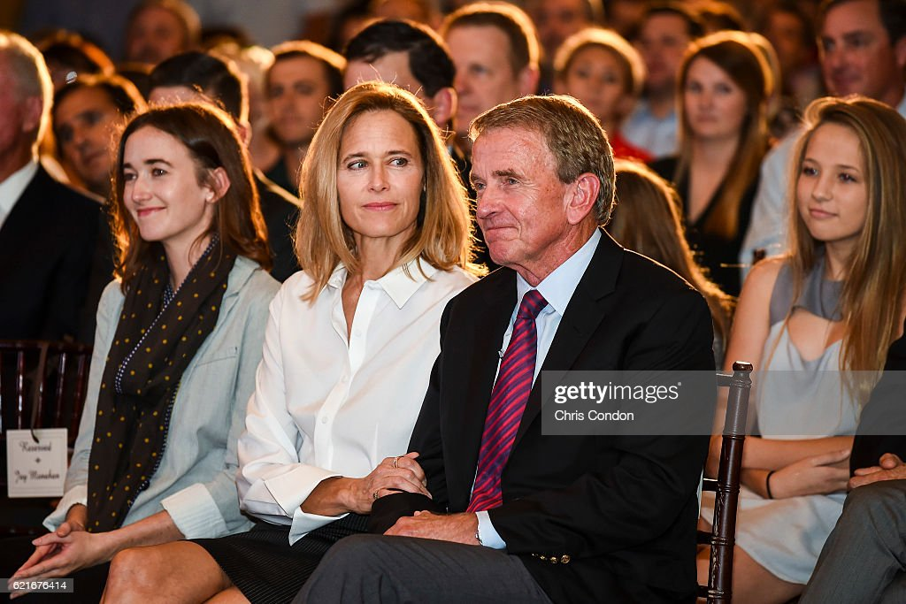 Outgoing PGA TOUR Commissioner Tim Finchem, right, sits with his wife Holly and their daughter during the PGA TOUR You Employee Meeting in the Ponte Vedra Room at TPC Sawgrass on November 7, 2016 in Ponte Vedra Beach, Florida.