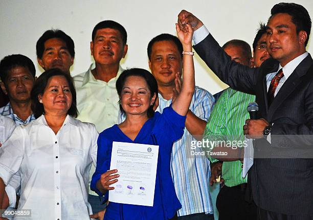 Outgoing Philippine President Gloria Macapagal-Arroyo is proclaimed as winner in the congressional race of Pampanga's second district on May 12, 2010...