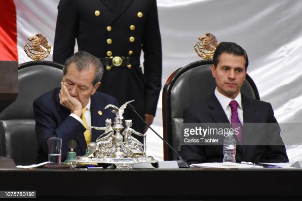 Outgoing president Enrique Pena Nieto gestures during the events of the Presidential Investiture as part of the 65th Mexico Presidential Inauguration...