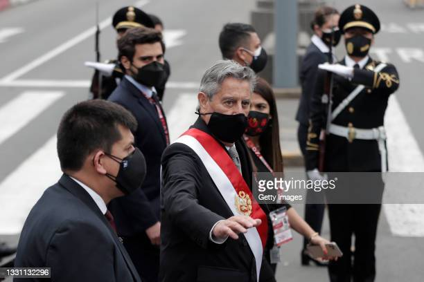 Outgoing President Francisco Sagasti arrives at Congress to deliver the presidential sash as he leaves office during the presidential inauguration on...