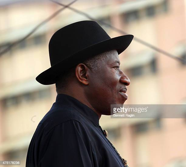 Outgoing president Goodluck Jonathan attends the swearing in of Nigeria's new President Muhammadu Buhari on May 29 2015 in Abuja Nigeria Buhari a...