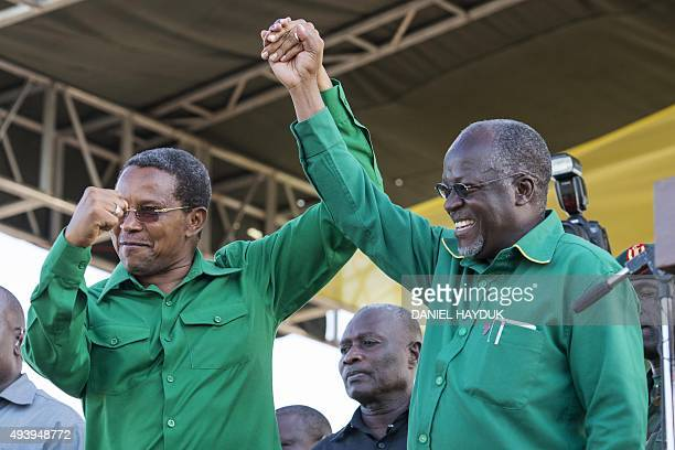 Outgoing president Jakaya Kikwete introduces presidential candidate John Magufuli at a rally by ruling party Chama Cha Mapinduzi in Dar es Salaam...