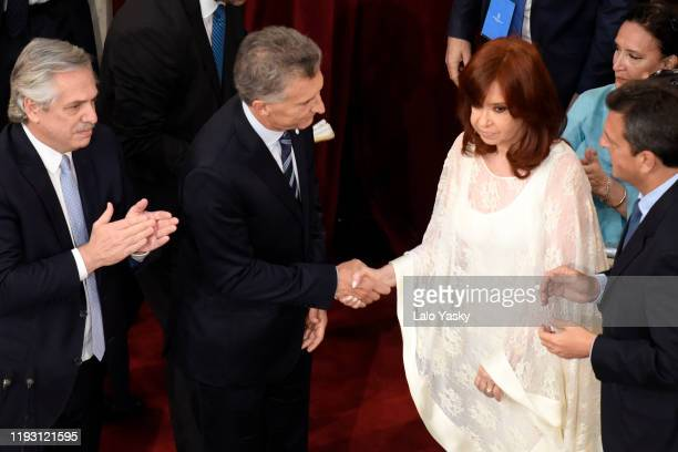 Outgoing President of Argentina Mauricio Macri greets Argentina Vice President-elect Cristina Fernandez during the Presidential Inauguration Ceremony...