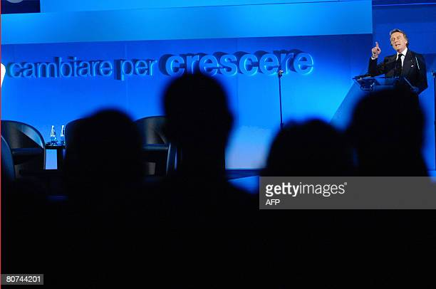 """Outgoing President of Confindustria, Luca Cordero di Montezemolo, talks during a conference of the national employers' association congress """"Changing..."""