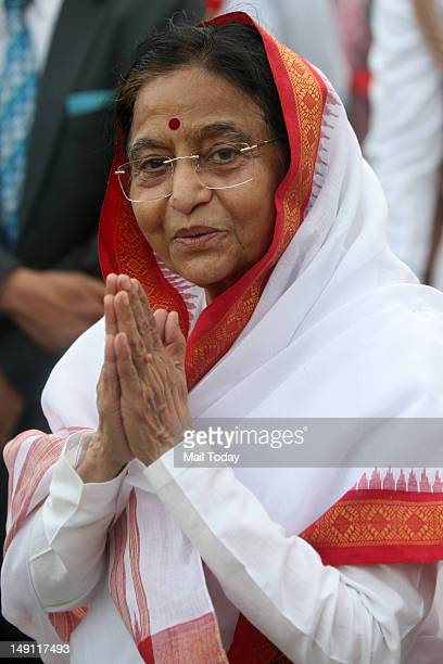 Outgoing President Pratibha Patil at an at Home as part of farewell ceremonies for Patil at Rashtrapati Bhavan in New Delhi on Sunday