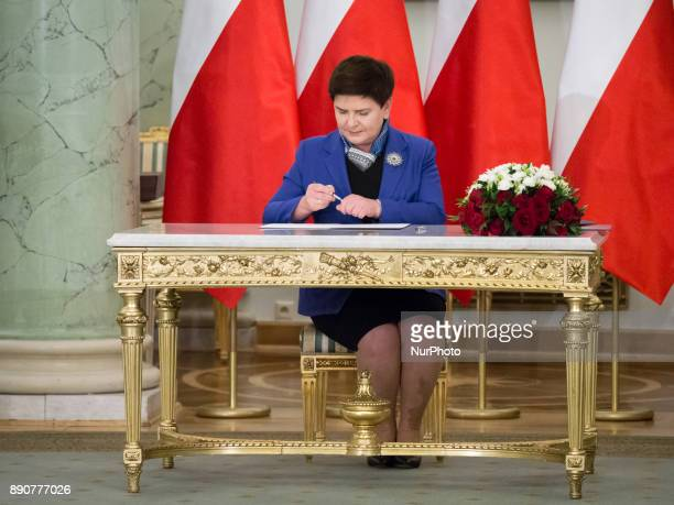Outgoing Prime Minister Beata Szydlo during the new Polish Government appointment ceremony in Presidential Palace in Warsaw Poland on 11 December 2017