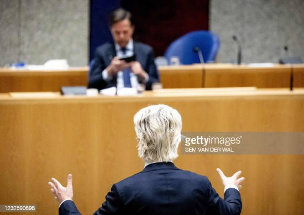 Outgoing Prime Minister Mark Rutte and rightwing populist PVV-leader Geert Wilders during a new debate about the 'benefits affair' in the House of...