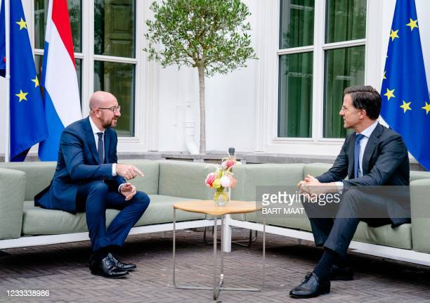 Outgoing Prime Minister Mark Rutte receives the President of the European Council, Charles Michel, for a working dinner at the Catshuis in The Hague,...