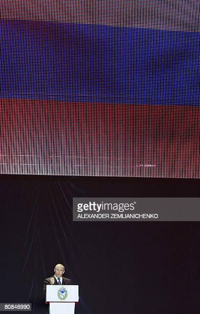 Outgoing Russian President Vladimir Putin speaks during a ceremony marking the 85th anniversary of the Russian sports club CSKA in Moscow on April 24...