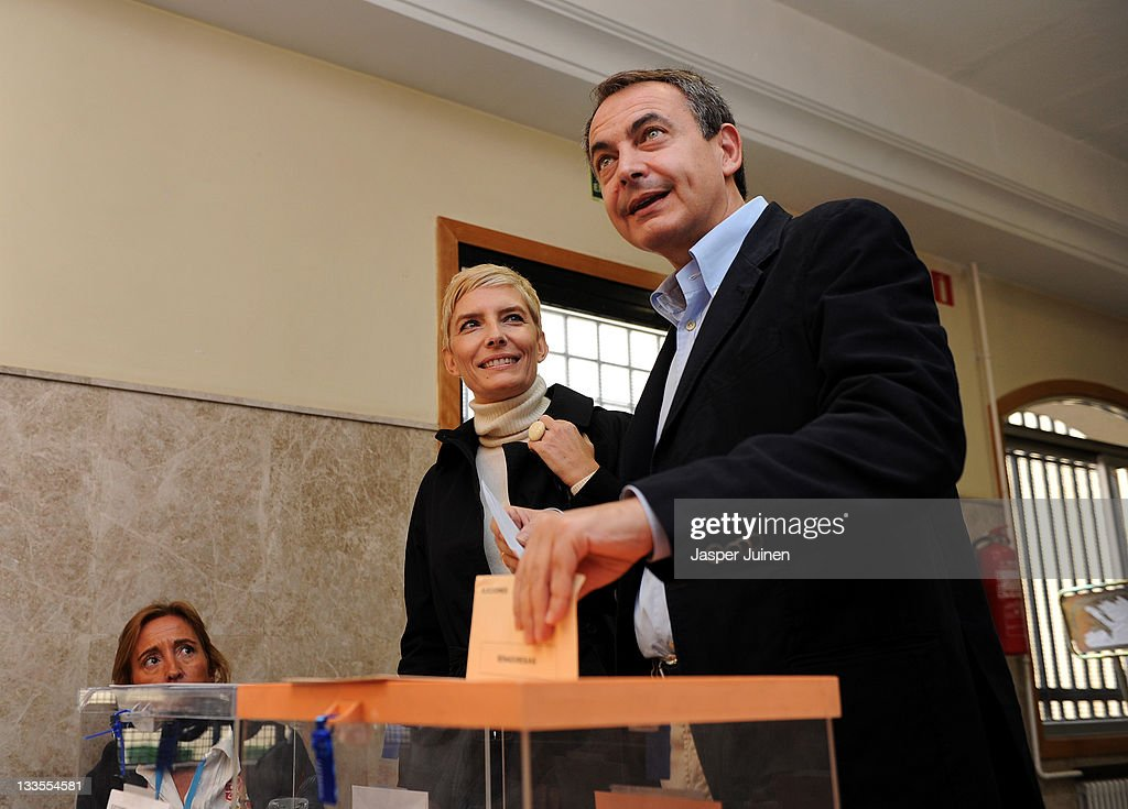 Outgoing Spanish prime minister Jose Luis Rodriguez Zapatero of the Socialist Party (PSOE) casts his ballot for the Spanish general elections beside his wife Sonsoles Espinosa at the Colegio Nuestra Senora del Buen Consejo on November 20, 2011 in Madrid, Spain. Spaniards are going to the polls today to vote for Spain's new Prime Minister and 208 directly elected seats in the Senate, the Spanish Parliament's upper house.