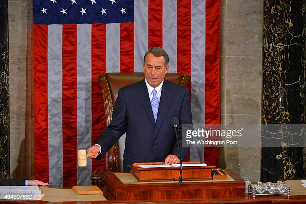 Outgoing Speaker John Boehner pounds the gavel for the final time as speaker of the house following his resignation speech in the House Chamber of...